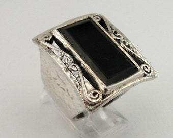 925 Silver Black Onyx, Sterling Silver filigree band, ring size 7, Ready to ship, huge rung