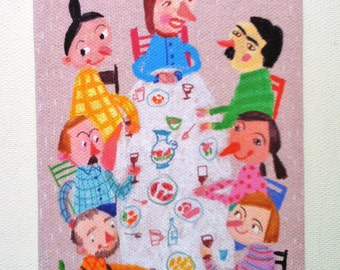 Breakfast / Tiny canvas print / Party /  Kids illustration / pink background -kids drawings