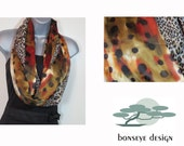 Infinity Scarf, Abstract Black Dots with Sepia, Rust, Ivory Satin and Black and Sepia Leopard Print with Gold Shimmer Crinkle Georgette
