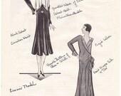 1930 Paris Dresses Lanvin Mme Agnes haute couture designer Art Deco / Kleenex on back / fashion illustration for framing - Free USA shipping
