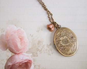 Antiqued brass oval opaque luster gold bell flower bridesmaid floral locket necklace, wedding gift, bridal, prom gift, graduation necklace