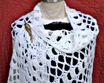 Arctic White Shawl Wrap Lacy Crochet