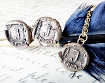 personalized jewelry - wedding logo jewelry - bride necklace - groom cuff links - custom monogrammed wax seal memorial memento anniversary