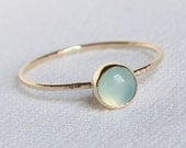 SOLID 14k Gold Delicate Aqua Chalcedony Stack Ring - Simple and Tiny SOLID Gold Dainty Stack Ring with Hammered Band - Delicate Jewelry
