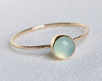 Dainty Aqua Chalcedony Solid 14k Gold Stack Ring - Simple Solid 14k Gold Dainty Stack Ring with Hammered Band - Delicate Ocean Ring
