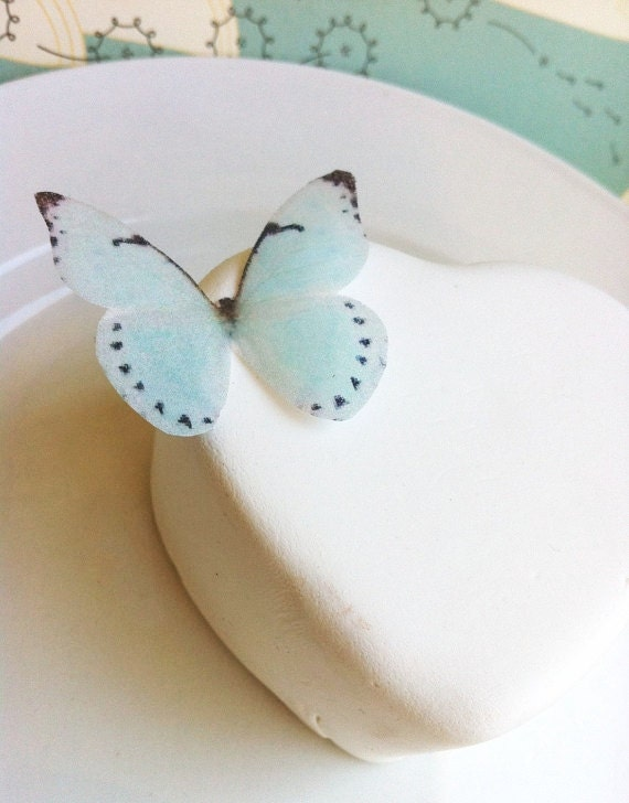Wedding Cake Topper Small Baby Blue Edible Butterflies - Wedding Cupcake toppers - PRECUT and Ready to Use