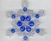 Sapphire Blue & Crystal Beaded Snowflake Christmas Tree Ornament Keepsake