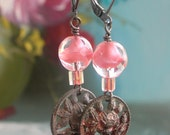 Antique Potmetal Rose Buttons and Pink Crystal Bead Earrings