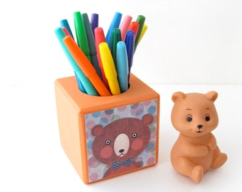 Bear Pencil Cup - Desktop Organizer - Crayons, Pencil and Markers organizer - Back to School Organizer