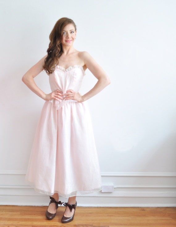 pretty pink 1950 style gown . sweetheart bust peplum skirt .small .sale s a l e