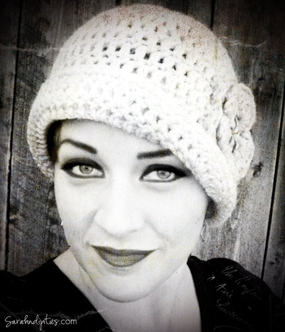 Crochet Gatsby Flapper Hat  - Vintage Style Hat with Flower  - You Choose Colors