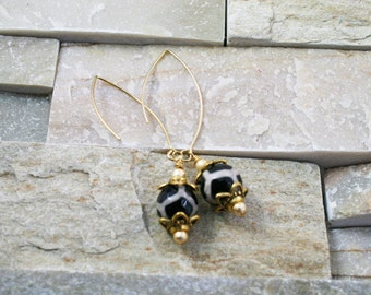 Tibetan Safari Agate, earrings, agate earrings, black and white jewelry, long dangle, gold jewelry, gift for her