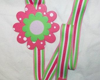 pink green white flower barrette bow hair accessories holder storage organizer handmade