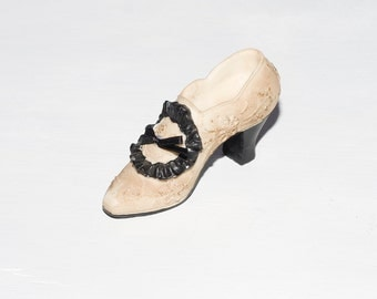Last Touch - Ivory and Black Victorian Figurine Shoe