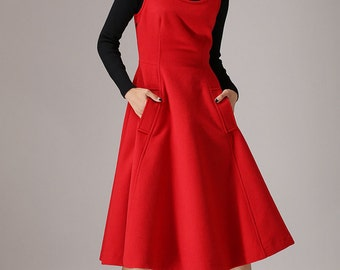 Red wool dress sleeveless maxi dress (769T)