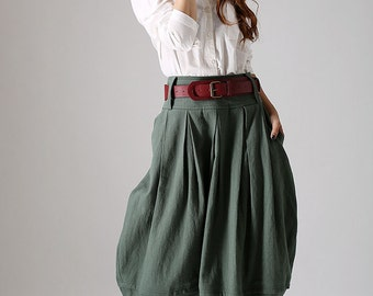 lagenlook skirt,midi skirt, pleated skirt, custom made skirt, pocket skirt, green skirt, casual skirt, womens skirts. gift for women  (870)