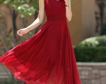 Red dress, Cocktail Dress, formal dress, chiffon dress, maxi dress boho, long dresses for women, custom dress, ladies dresses, Gift  (1005)