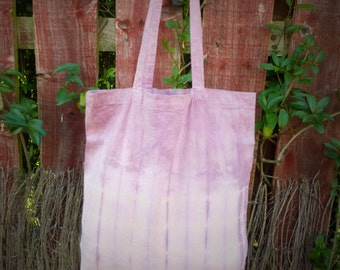 Summer Rose Canvas Tote Shopper Bag - Naturally Dyed - Womens Organic Summer Accessory - Ready to Ship