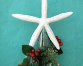 "Starfish Tree Topper - Choose Natural, Clear Glitter, or Crystal - 7""-8"" or 9""-10"" - Christmas Decoration Beach Decor Ornaments Star fish"