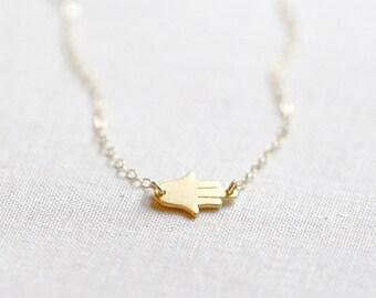 Sideways Hamsa Necklace 24kt Gold Vermeil | Gold Hamsa Necklace