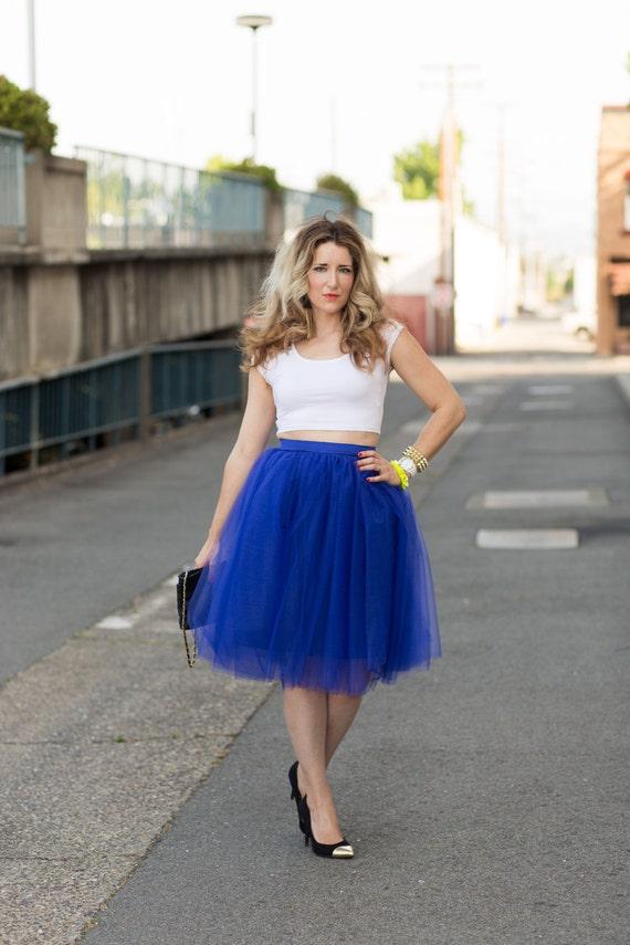 The Cobalt BlueTulle Skirt in Knee length/Midi Royal Neon