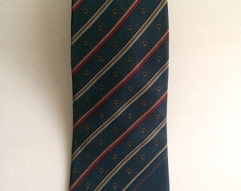 Vintage Neckties Men's 80's Givenchy, Silk, Blue, White, Striped, Tie