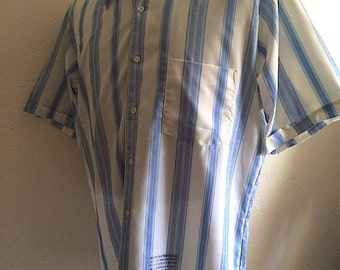 Vintage Mens 70's Shirt, Blue, White, Striped, Short Sleeve by Buffums (L)