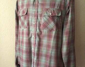 Vintage Men's 70's Shirt, Plaid, Green, Brown, Plaid, Long Sleeve (XL)