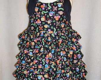 Custom Boutique Gone Buggie Tie Shoulder Ruffled Dress, Baby, Toddler and Girl's Sizes.