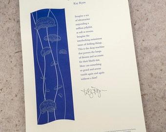 """Letterpress Poetry Broadside — """"Tune"""" — poet Kay Ryan"""