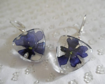 Blue Verbena Pressed Flower Glass Triangle Leverback Earrings-Symbolizes Enchantment, Pray For Me-Nature's Art-Gifts Under 25