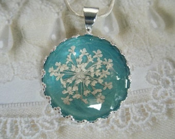 Queen Anne's Lace Beneath Glass Crown Pendant Atop Ocean Sea Foam Blue Green-Nature's Wearable Art-Symbolizes Peace-Gifts Under 25