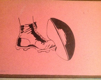 Two Ink Drawings. Football. Signed Dated by  Artist. 1930s