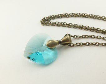 Light Turquoise Necklace Crystal Heart Necklace Antiqued Brass Chain