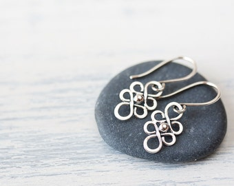 Dainty Silver Earrings, Tiny earrings, short 925 sterling silver earrings, Small unique wire filigree dangle, Lightweight everyday earrings