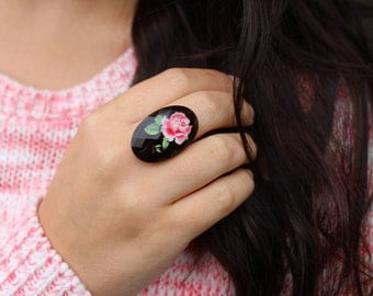 Adjustable Pink and Black Rose Cameo Ring.