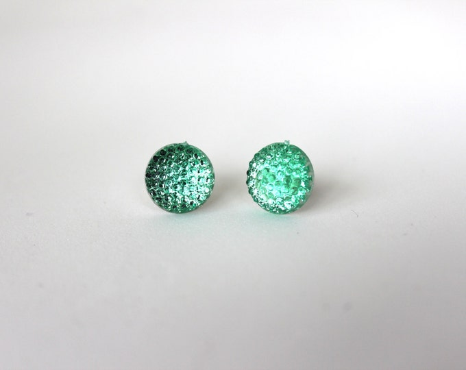 Mint bubble Light Green Post Stud Bubbly Earrings.
