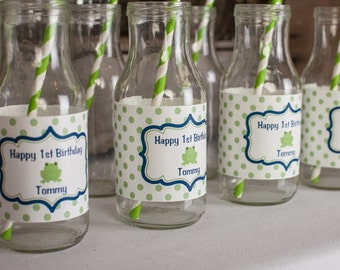 Frog Birthday Party Water Bottle Labels - Frog Birthday Party Decorations - Frog Labels - Navy Blue and Green (12)