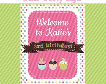SWEET SHOP Birthday Party Welcome Sign - 8x10 Welcome Sign - Printable Cupcake Theme Birthday Party Sign