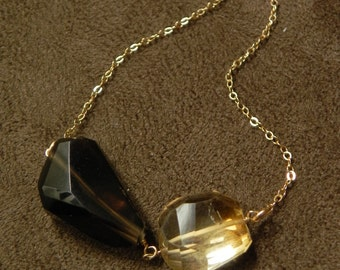 Duet Necklace Featuring Smokey Quartz and Citrine on Gold Filled Chain