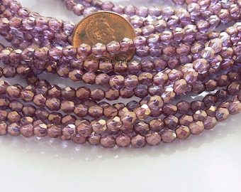 Amethyst Bronze Illusion, Czech Beads Fire Polished 4mm 50 Faceted Round GLass