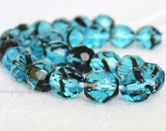 Tortoise Teal Czech Glass Beads 8mm Fire Polished 20 Faceted Round Beads