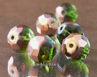 Copper Olivine Czech Fire Polished Beads 12mm 6 Faceted Round Glass