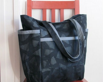Big City Cool Weekender - Vintage Black Upholstery Canvas - Diaper Bag / Teacher / Student / Travel Tote - Modern Abstract - Limited Edition