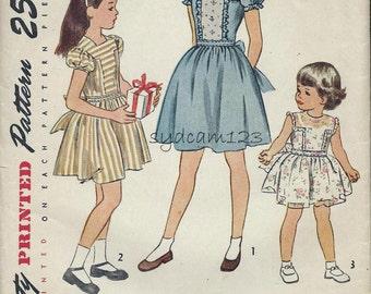 Vintage Pattern 1940s Girls Back Button Dress T Shaped Yoke Short Sleeves & Panties 1946 Simplicity 2069 Size 3