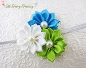Turquoise and Lime Green Flower Headband, White Satin Flower Trio w/ Pearls Headband or Clip, The Emily, Baby Toddler Child Girls Headband