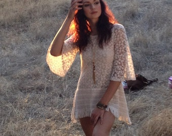 IVORY Daisy lace Tunic- Exclusive - Designed by Gina Louise-