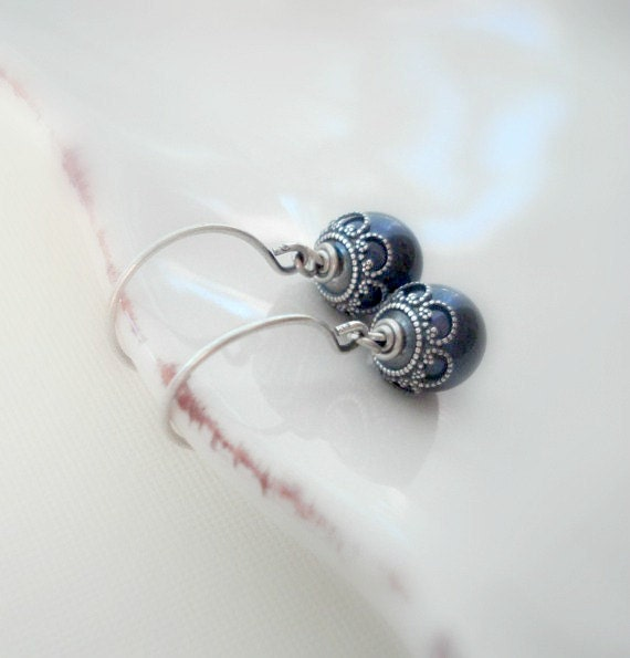 Navy Blue Pearl Silver Earrings. Wedding Jewelry, Drop Earrings, Bridesmaids Earrings, Classic Dangle, Gift For Her Under 25