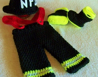 Baby Halloween Costume - Newborn Photo Prop - Newborn Crochet Outfit - Baby Photo Prop - Baby Firefighter - Baby Firefighter Turnout Gear