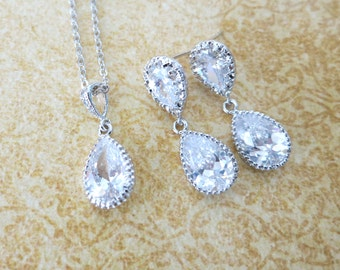Darcy - Wedding Jewelry Set, Bridal Necklace, Earrings, Bridesmaids, Clear White Teardrop Cubic Zirconia Crystal, Sparkly Earrings